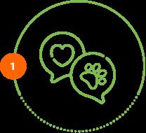 Höper Tierversicherungen Icon Schild mit einem Hufeisen darauf. Icon Hundeversicherung Herz Pfote Schritt 1