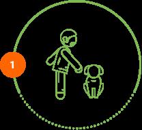 Höper Tierversicherung Icon Mann mit sitzenden Hund Schritt 1