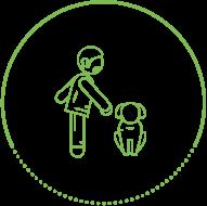 Höper Tierversicherung Icon Mann mit sitzenden Hund
