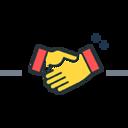 Höper Tierversicherungen gelber Icon Hände schütteln